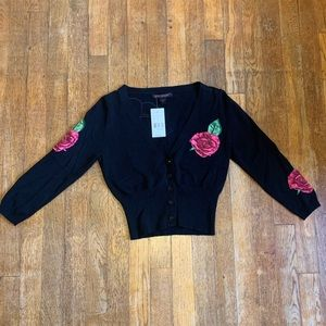 Betsey Johnson Rose Patches Cropped Cardigan Black